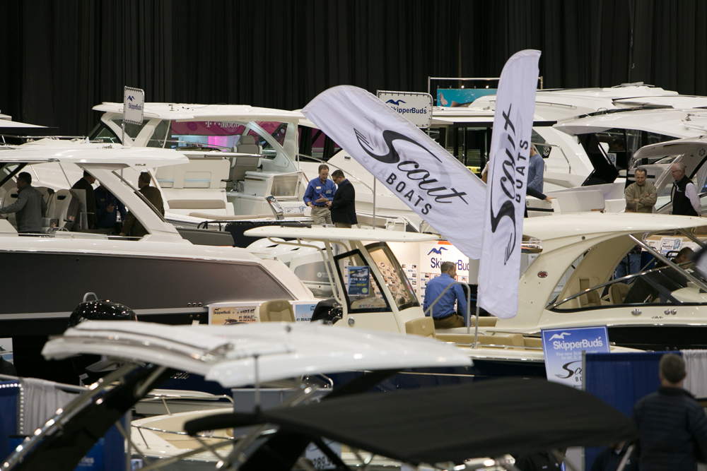 Attendees check out the more than 400 boats at the annual Progressive Cleveland Boat Show. (Dave Petkiewicz, cleveland.com)