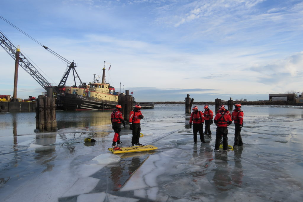 Crews at U.S. Coast Guard Station Cleveland Harbor practice ice rescues Thursday. (Laura Johnston, RocktheLake)