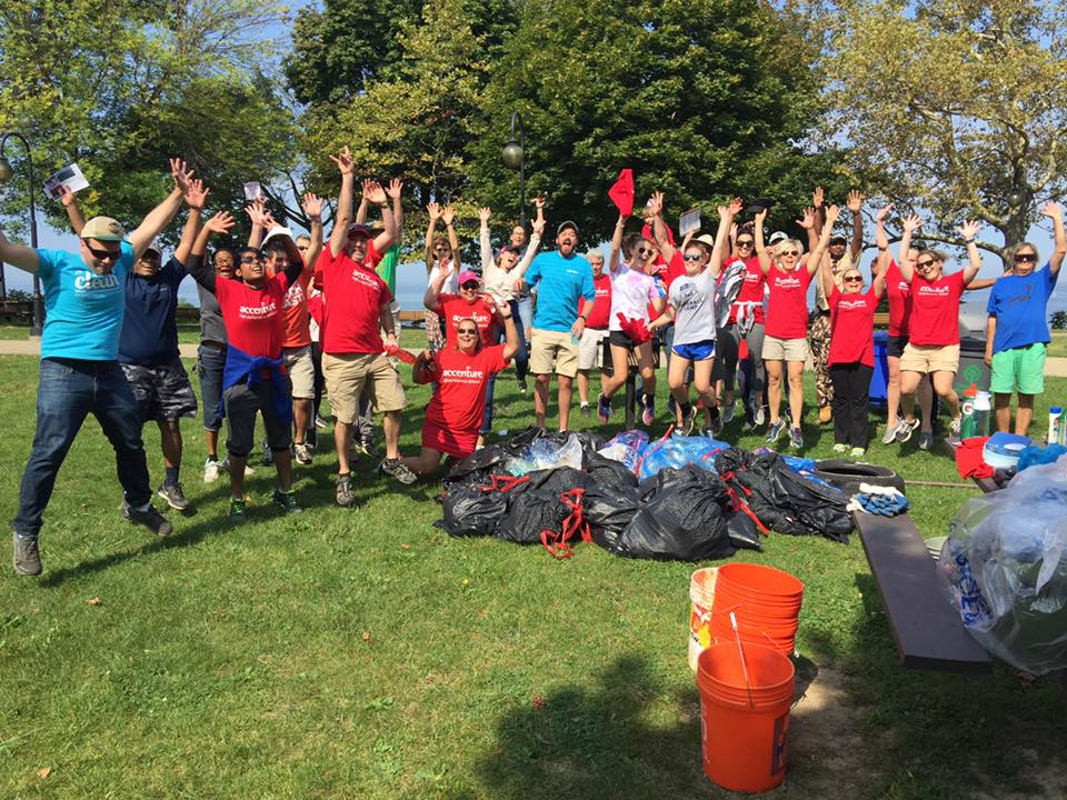 Volunteers regularly clean up Euclid Beach and the streets around it, to keep plastics out of Lake Erie. (Euclid Beach Adopt-a-Beach)