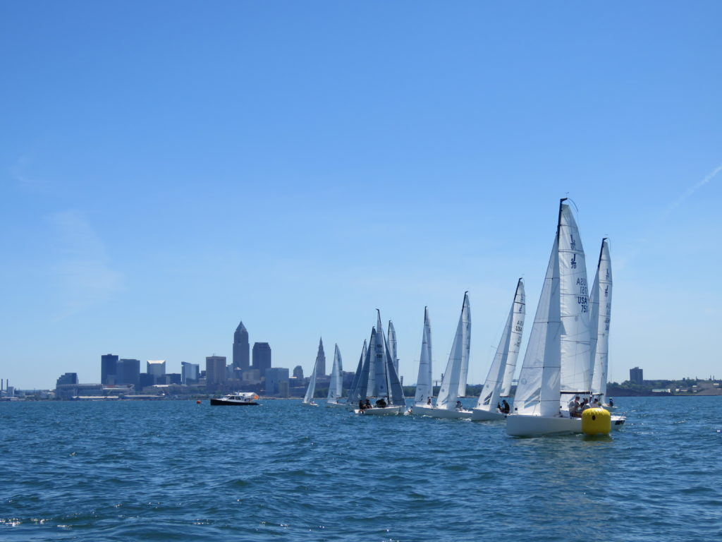 J-70 sailboats line up at the start of the first race of Cleveland Race Week 2018. (Laura Johnston, RocktheLake)