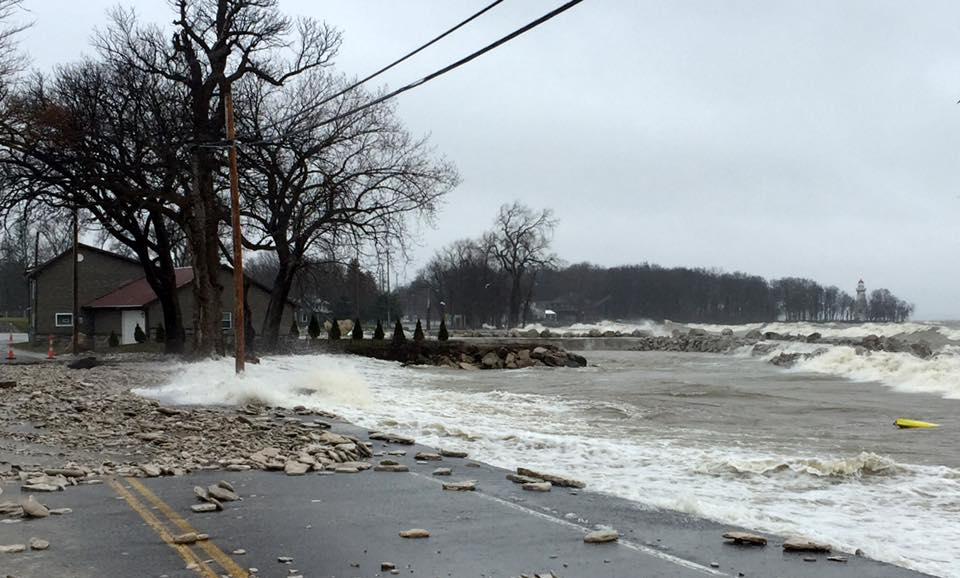 High water and wind washed away roads on April 15 in Marblehead.
