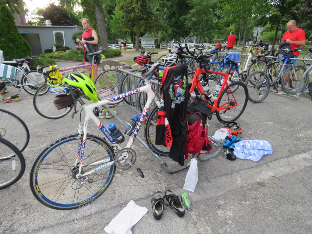 Bikes ready for the transition of the Lakeside sprint triathlon, which has been held annually since 1984. (Laura Johnston, RocktheLake)