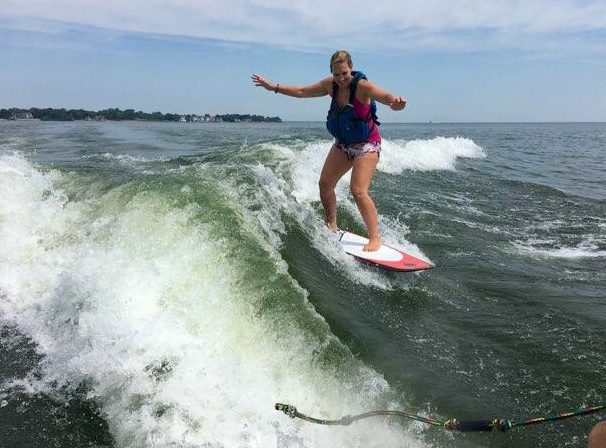 I couldn't stop smiling when I tried wakesurfing. (Kelly Hand)