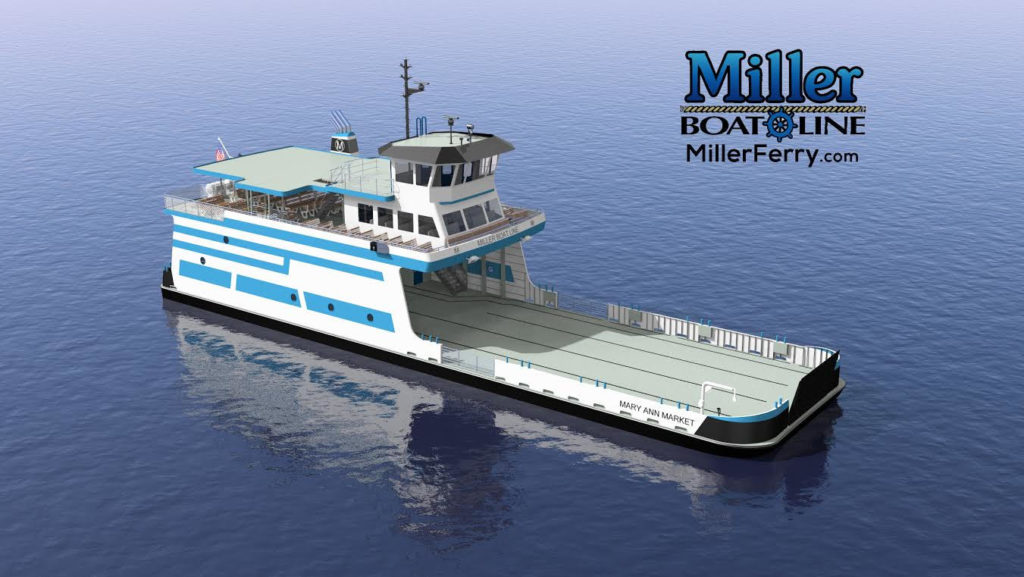 A rendering of the new Miller Ferry, the Mary Ann Market, expected next fall. (Miller Boat Line)