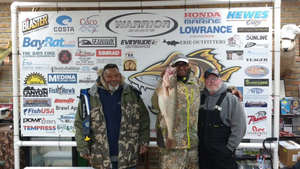Clarence Mitchell Jr. holds his winning walleye in the 2018 Fall Brawl. (Craig Lewis, Erie Outfitters)