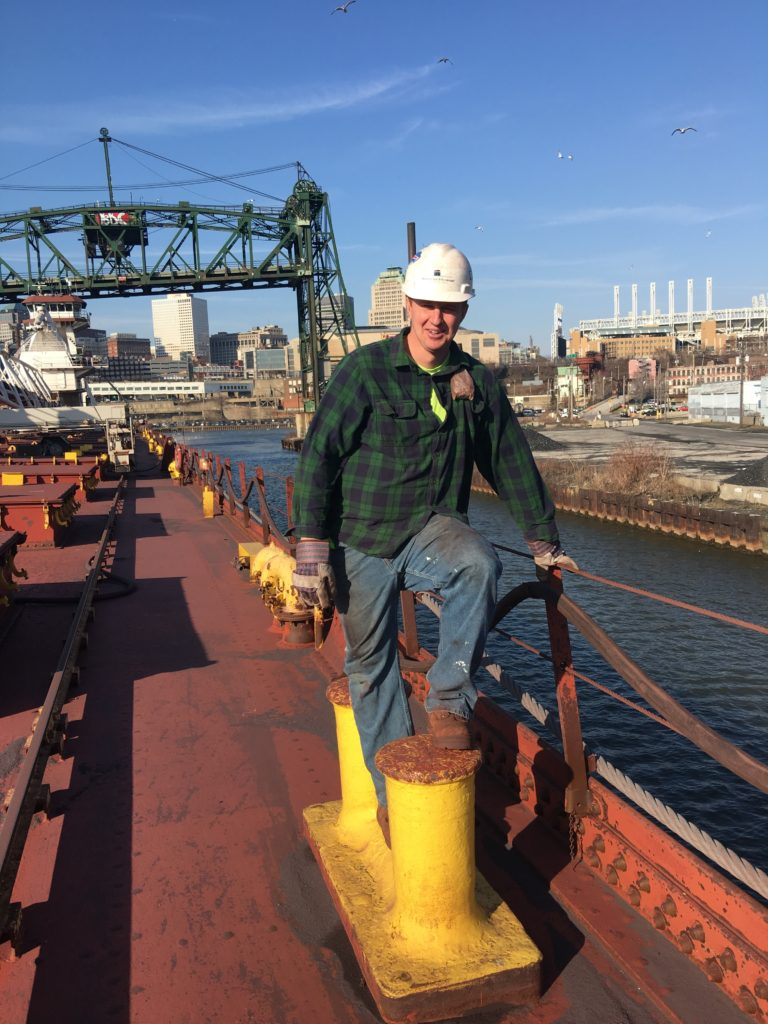 Mate Dan Spoth aboard an Interlake Steamship. (Interlake Steamship)