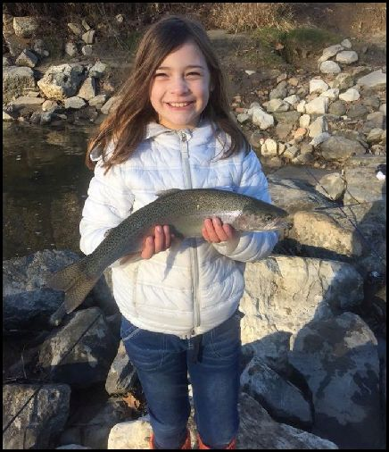 Guiliana caught her first steelhead ever this week. (Bruce Drago, via Cleveland Metroparks)