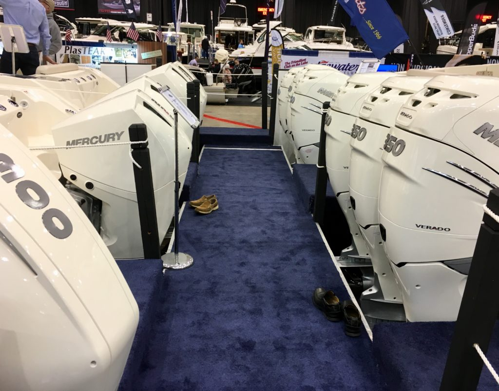 Outboard motors are on some of the biggest, most expensive boats at the 2019 Progressive Cleveland Boat Show. (Laura Johnston, RocktheLake)