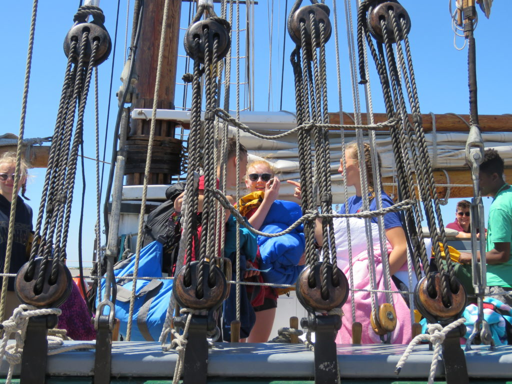 Teenagers made fast friendships during a week long sail on the Denis Sullivan. (Laura Johnston, RocktheLake)