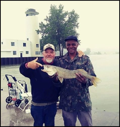 Luther caught a beautiful walleye at the Wendy Park pier at the mouth of the Cuyahoga River (Luther Williams, via Cleveland Metroparks).
